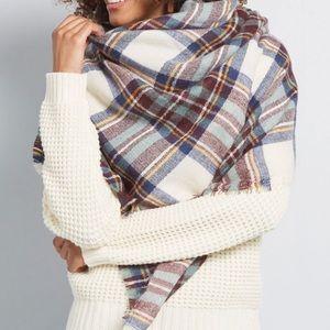 Mod Cloth Plaid Square Blanket Scarf Oversized EUC